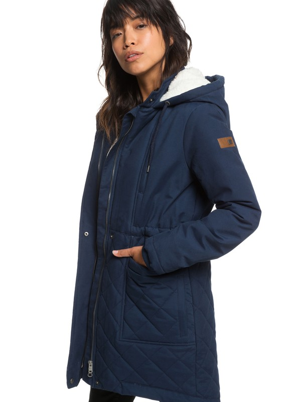 0 Slalom Chic Waterproof Hooded Padded Jacket Blue ERJJK03231 Roxy
