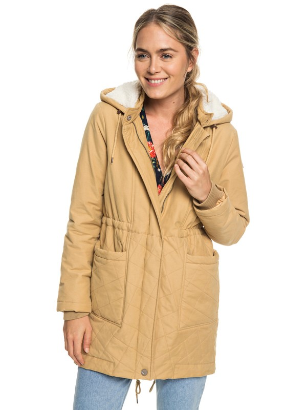 0 Slalom Chic Waterproof Hooded Padded Jacket Beige ERJJK03231 Roxy