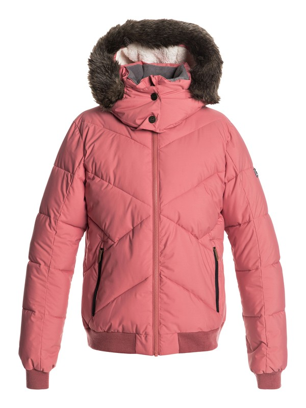 0 Hanna - Waterproof Hooded Bomber Jacket for Women Pink ERJJK03238 Roxy