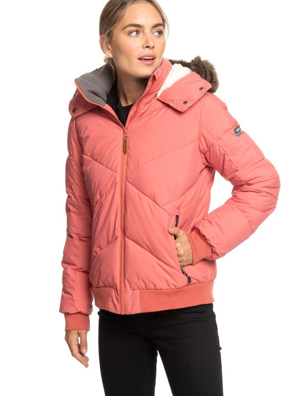 0 Hanna Water Repellent Hooded Bomber Jacket Pink ERJJK03238 Roxy