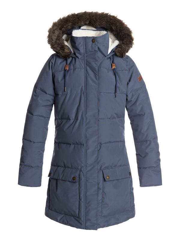 0 Ellie - Waterproof Hooded Longline Puffer Jacket for Women Blue ERJJK03239 Roxy