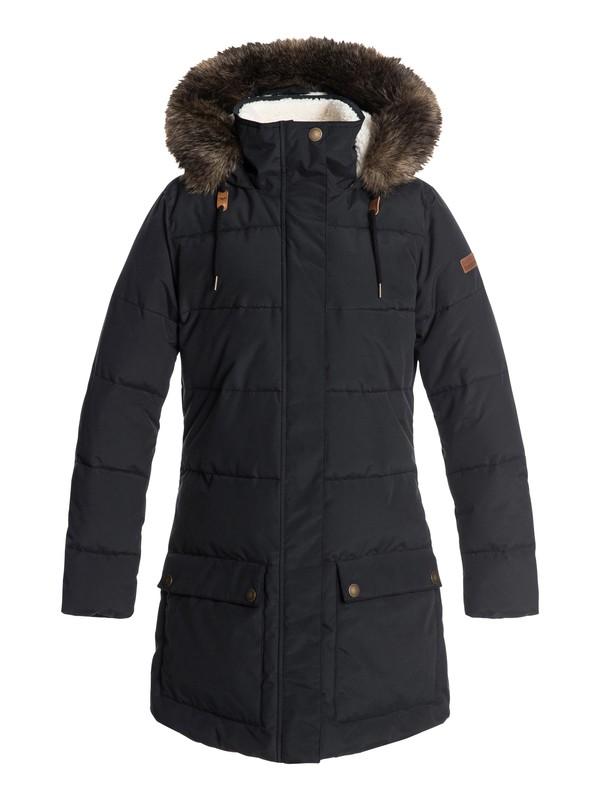 0 Ellie - Waterproof Hooded Longline Puffer Jacket for Women Black ERJJK03239 Roxy
