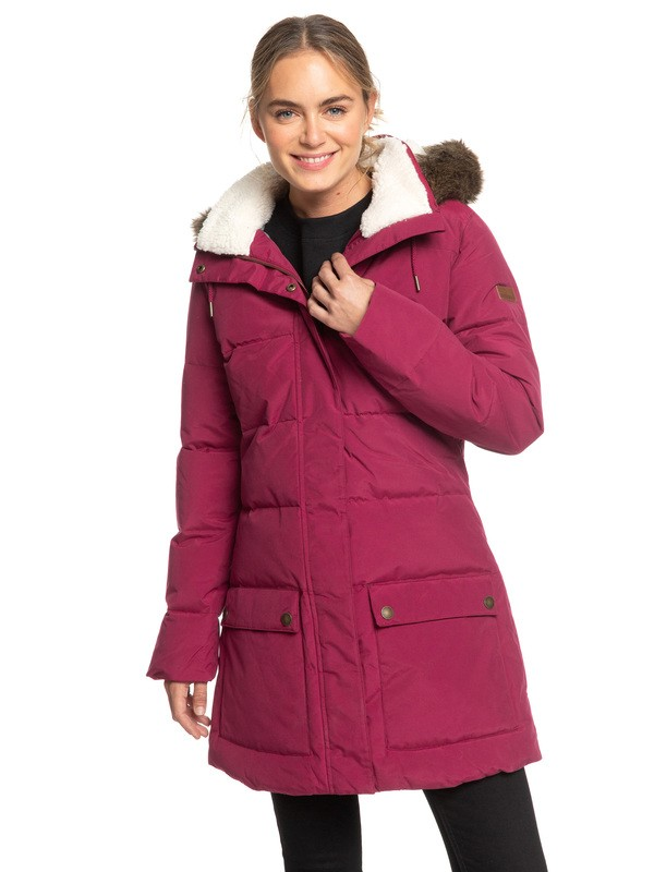 0 Ellie Water Repellent Hooded Longline Puffa Jacket Red ERJJK03239 Roxy