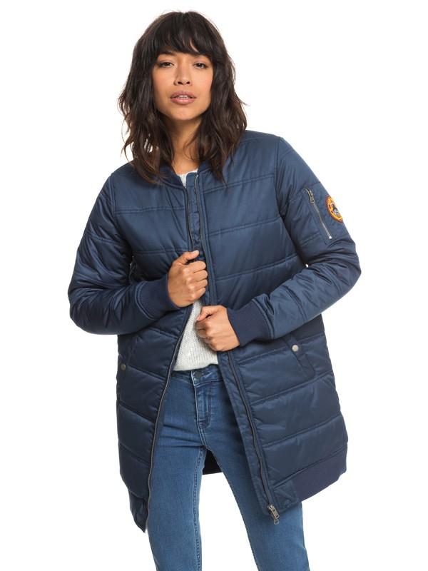 0 Fade Out - Water Repellent Longline Padded Bomber Jacket for Women Blue ERJJK03255 Roxy