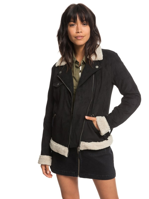 0 Gateway Games Faux Suede Pilot Jacket Black ERJJK03259 Roxy