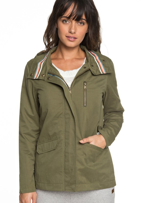 0 Lightening Strike Hooded Military Jacket Green ERJJK03260 Roxy