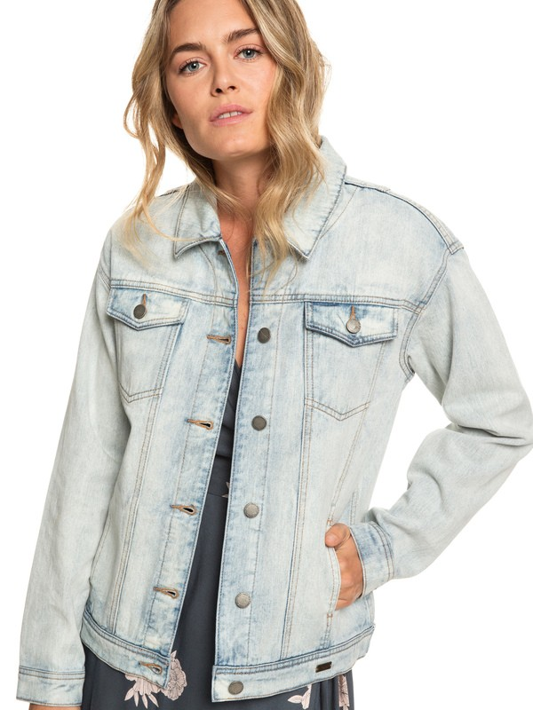 0 Midnight Drive - Denim Boyfriend Jacket for Women Blue ERJJK03279 Roxy