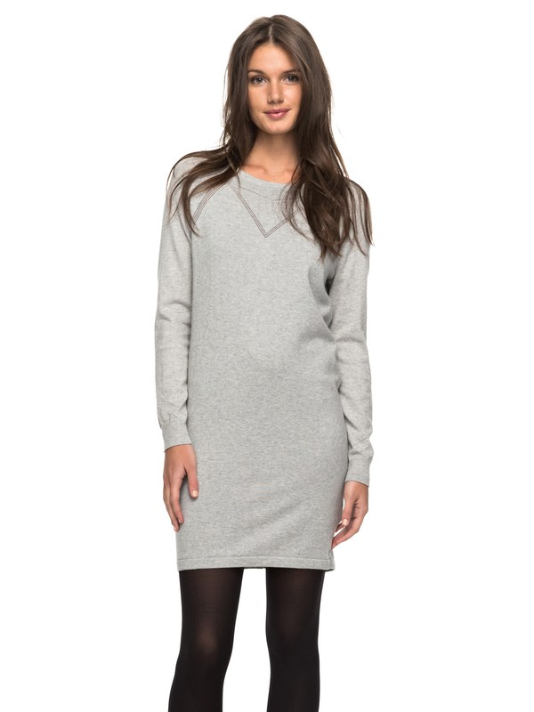 0 Winter Story - Langarm-Kleid mit Knopfleiste Grau ERJKD03139 Roxy