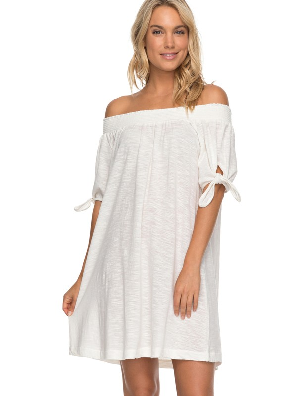 0 Bright Blue Sky - Off The Shoulder Dress for Women White ERJKD03161 Roxy