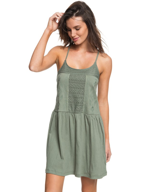 0 White Beaches Dress Green ERJKD03167 Roxy
