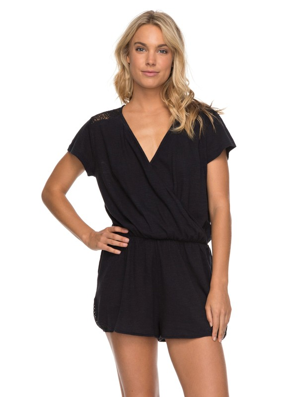 0 Salty Evening  Short Sleeve Romper Black ERJKD03168 Roxy