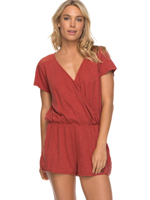 0 Salty Evening - Short Sleeve Playsuit for Women Orange ERJKD03168 Roxy
