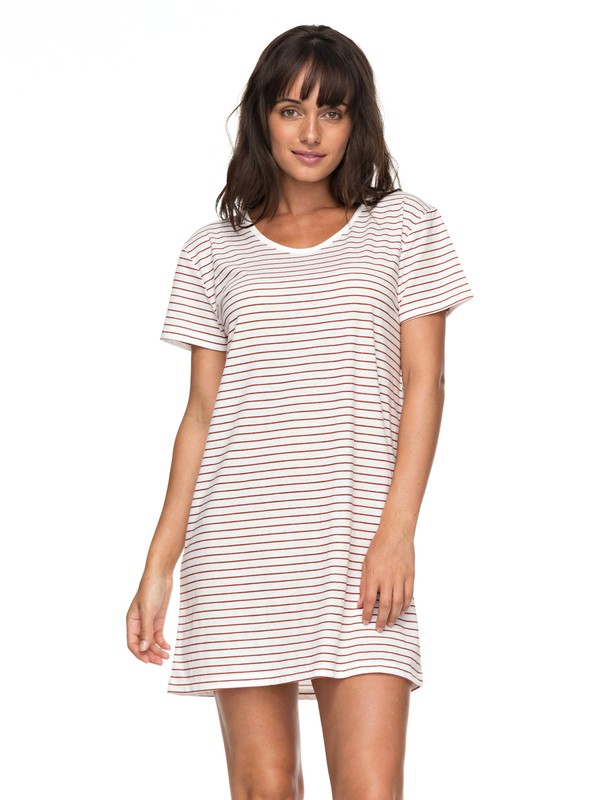 0 Just Simple Stripe - T-Shirt-Kleid für Frauen Orange ERJKD03172 Roxy
