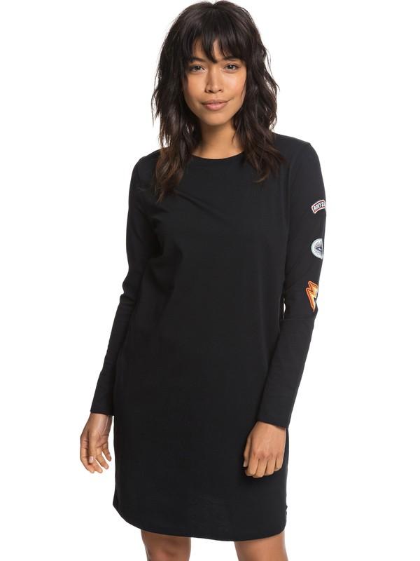 0 Boyish Look Long Sleeve T-Shirt Dress Black ERJKD03213 Roxy