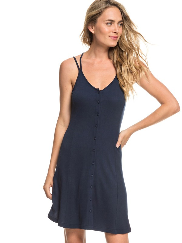 0 People Crazyness Button Front Strappy Dress Blue ERJKD03240 Roxy