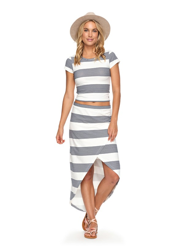 0 Romantic Ocean Stripes Asymmetric Midi Skirt White ERJKK03025 Roxy