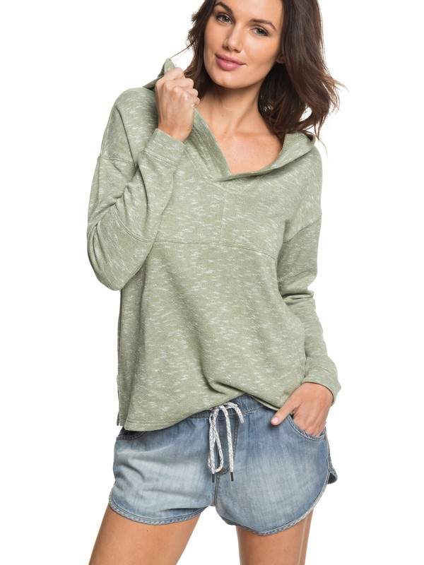 0 Sunset Surfside Hooded Poncho Sweatshirt Green ERJKT03367 Roxy