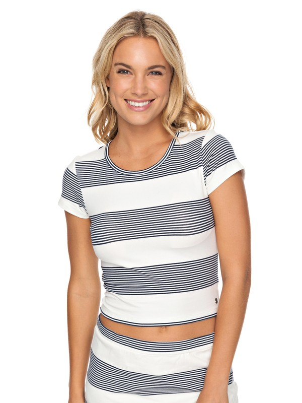 0 Parker Stripy Crop Top White ERJKT03424 Roxy