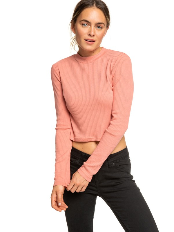 0 Joy And Smile Long Sleeve High Neck Top Pink ERJKT03485 Roxy