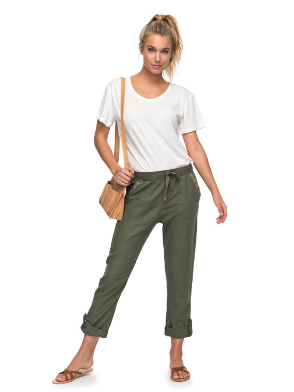 0 Symphony Lover Linen Pants Green ERJNP03121 Roxy