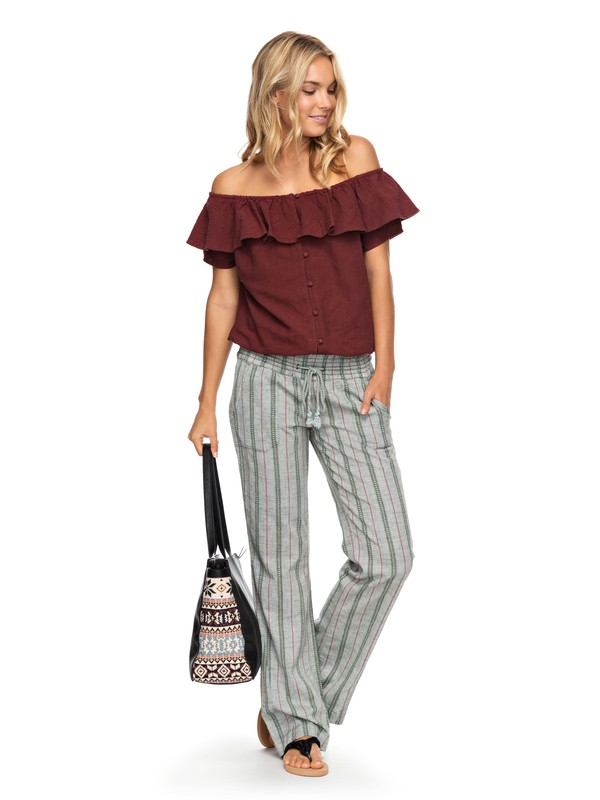 0 Oceanside Yarn Dye Pants Brown ERJNP03178 Roxy