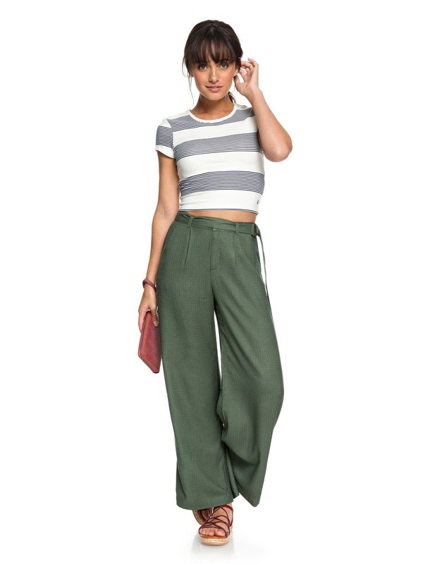 0 Yellow Mountains Wide Leg Pants Brown ERJNP03179 Roxy