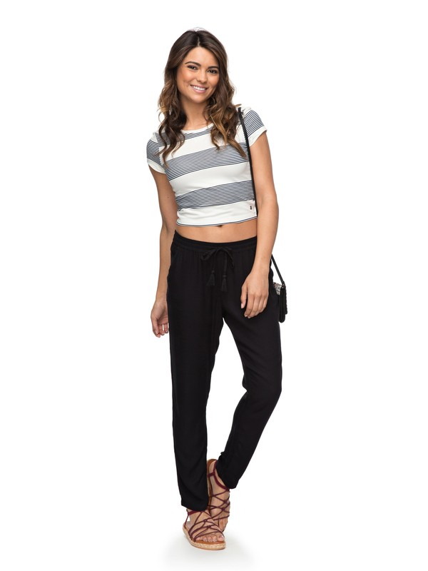 0 Bimini Viscose Beach Pants Black ERJNP03181 Roxy