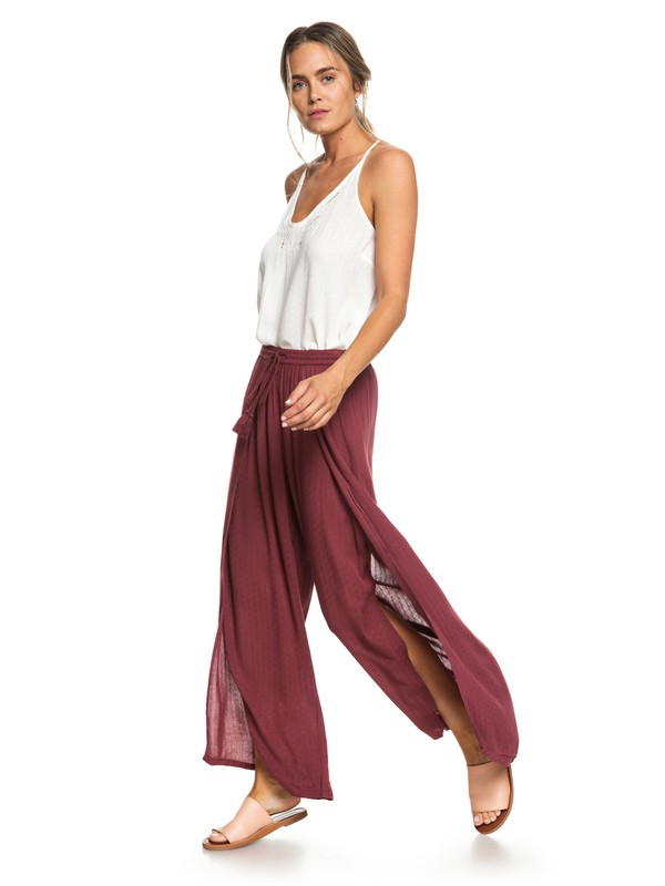 0 Kuta Wide Leg Pants Red ERJNP03209 Roxy