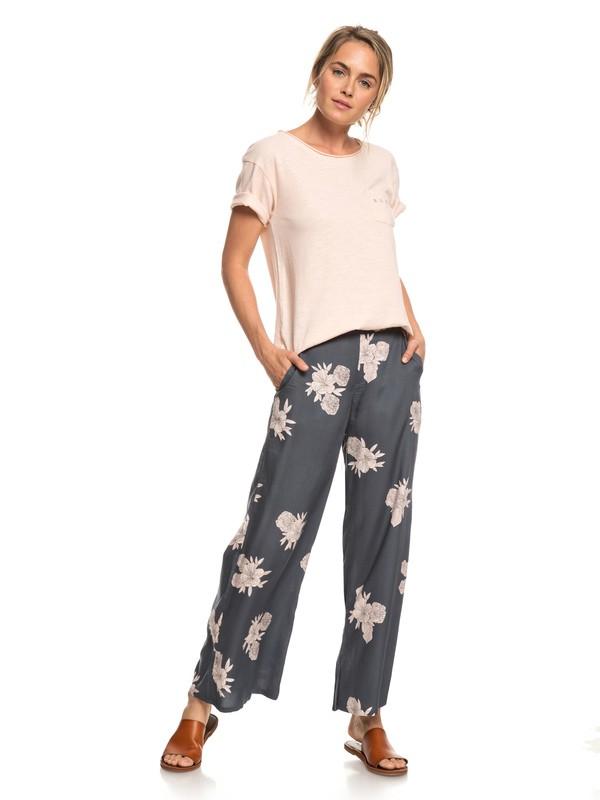 0 Midnight Avenue Wide Leg Viscose Pants Black ERJNP03227 Roxy