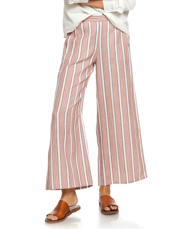 0 Midnight Avenue Striped Wide Leg Pants Red ERJNP03230 Roxy