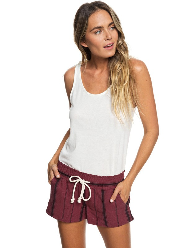 0 Oceanside Linen Beach Shorts Red ERJNS03186 Roxy