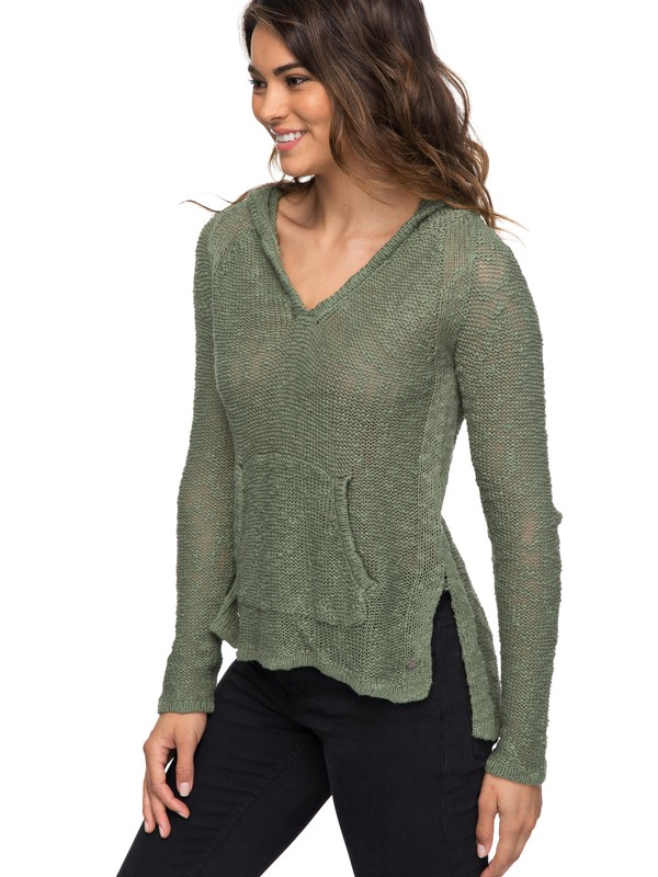 0 Slouchy Morning  Hooded Sweater Green ERJSW03247 Roxy