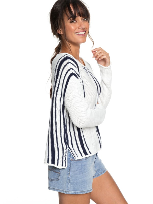 0 Monument Border Sweater White ERJSW03259 Roxy