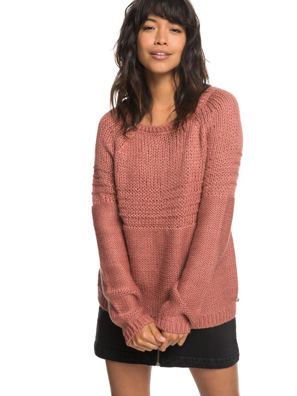0 Urban Stories - Pull col rond pour Femme Rose ERJSW03274 Roxy
