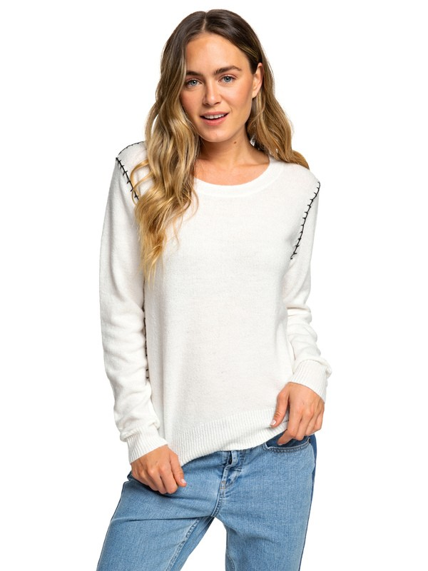 0 Times Run Fast - Pull col rond pour Femme Blanc ERJSW03293 Roxy
