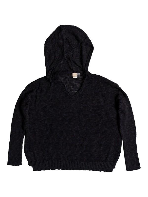 0 Sandy Bay Beach Knitted Hooded Poncho Black ERJSW03297 Roxy