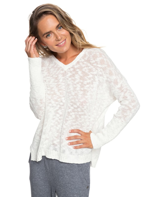 0 Sandy Bay Beach Knitted Hooded Poncho White ERJSW03297 Roxy
