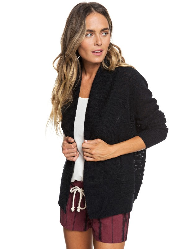 0 Ready To Travel Knitted Cardigan Black ERJSW03298 Roxy