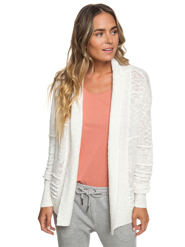 0 Ready To Travel Knitted Cardigan White ERJSW03298 Roxy
