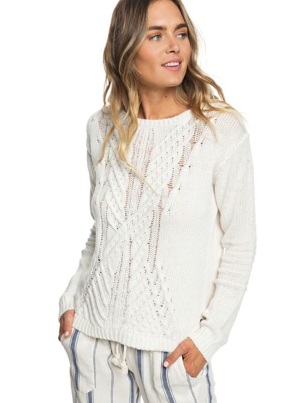 0 Glimpse Of Romance Sweater White ERJSW03302 Roxy