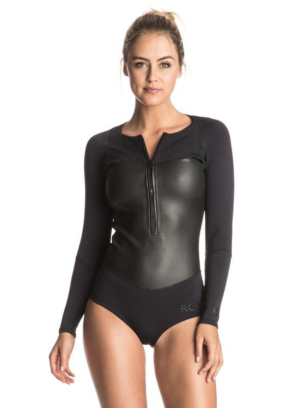 0 1mm Satin Bikini Long Sleeve Front Zip Springsuit Black ERJW403011 Roxy