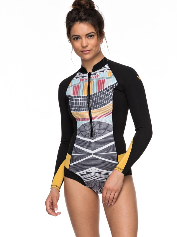 0 1mm POP Surf Long Sleeve Cheeky Cut Front Zip Springsuit Black ERJW403017 Roxy