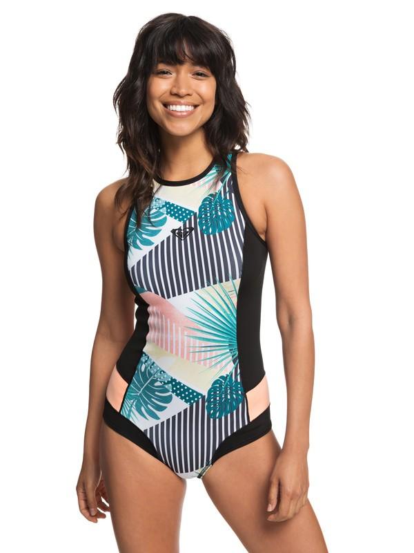 0 1mm POP Surf Back Zip Bikini Cut Shorty for Women Black ERJW603015 Roxy