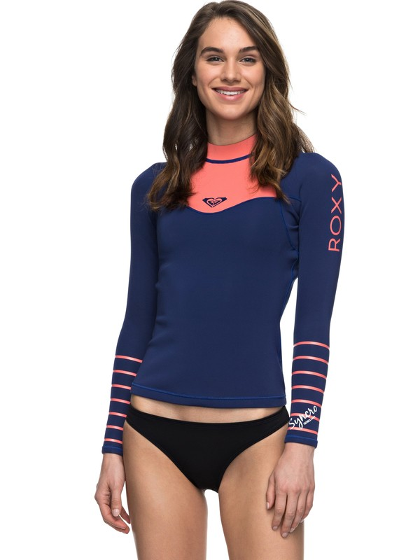 0 1mm Syncro Series - Long Sleeve Neoprene Surf Top Blue ERJW803008 Roxy