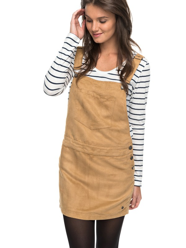 0 Chase The Sun Faux Suede Dungaree Dress  ERJWD03159 Roxy