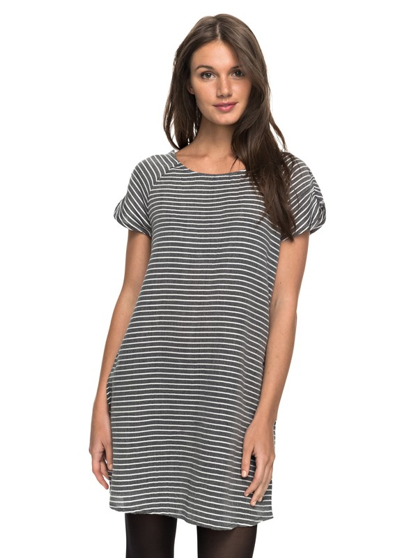 0 Peak Moments Striped Short Sleeve Dress  ERJWD03169 Roxy