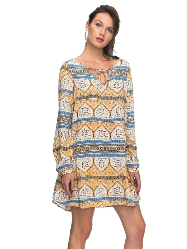 0 View Delights Long Sleeve Dress White ERJWD03201 Roxy