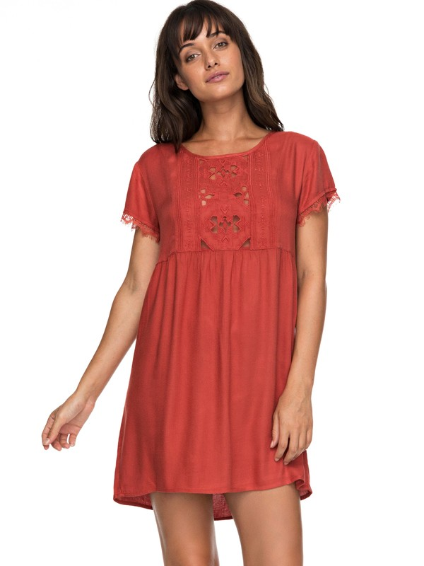 0 Dark To Light - Short Sleeve Dress Orange ERJWD03204 Roxy