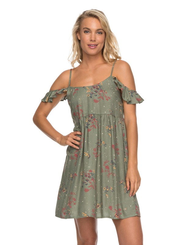 0 Do It My Way Flutter Sleeve Dress Green ERJWD03205 Roxy