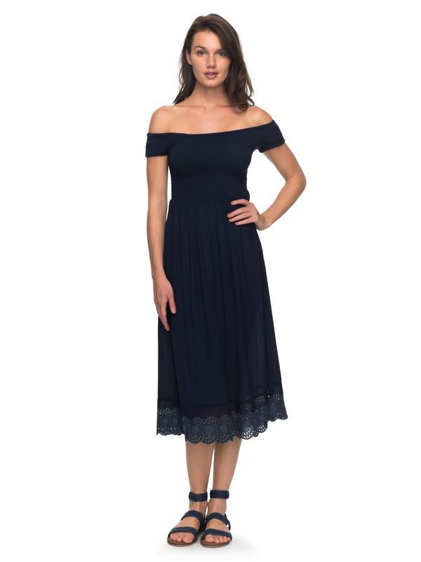 0 Pretty Lovers Off The Shoulder Midi Dress Blue ERJWD03209 Roxy